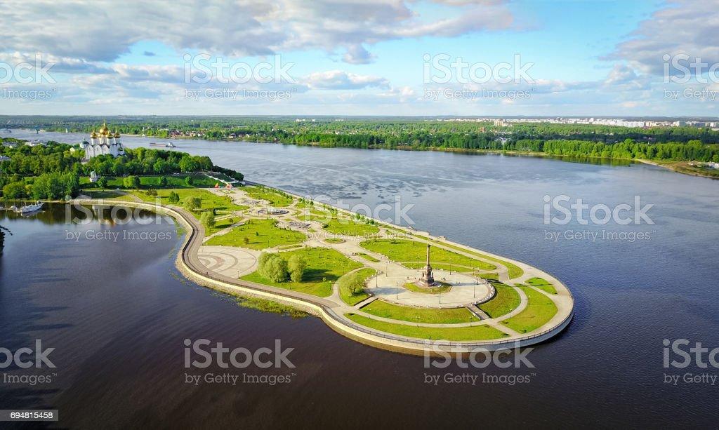 Strelka park in  Yaroslavl, Russia stock photo