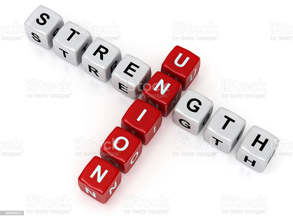 strength and union crosswords stock photo