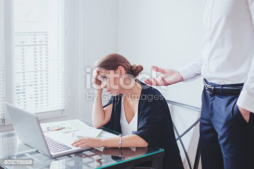 istock stress at work, emotional pressure, angry boss and  unhappy employee 639259568