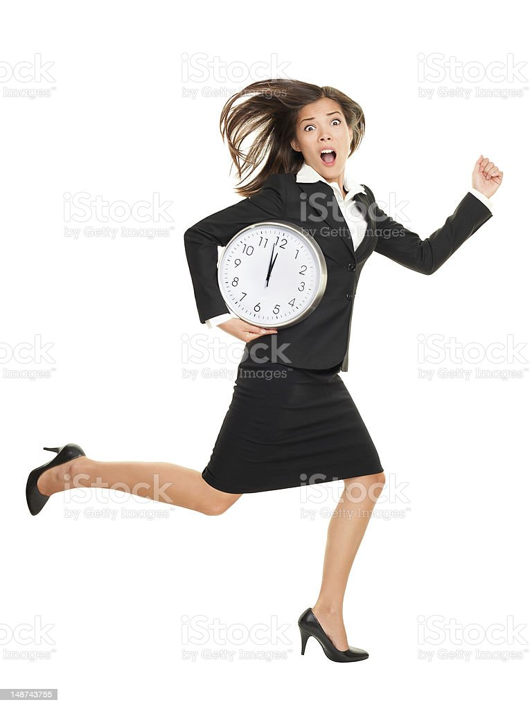 Stress - business woman running late stock photo