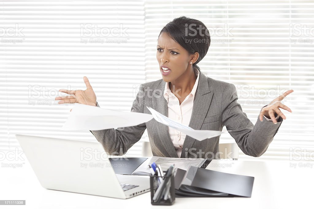 Stress businesswoman at office. royalty-free stock photo