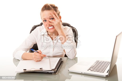 istock Stress businesswoman at work 683489360