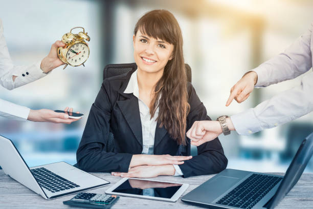 A stress free and resistance business woman. stock photo