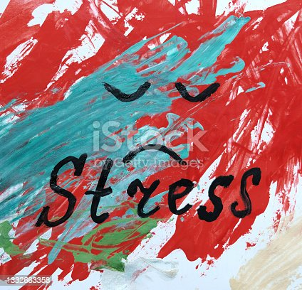 istock Stress handwritten word and sad face on abstract green red background 1332663358