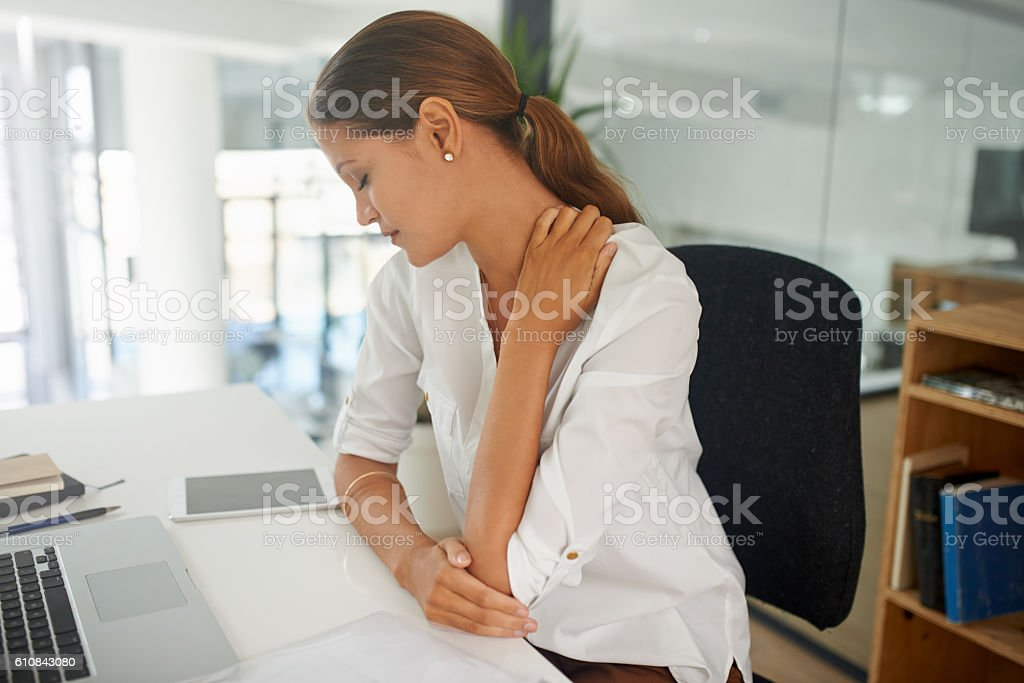 Stress has got her in it's grip stock photo