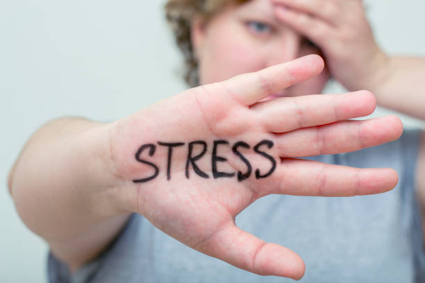 Stress. Overweight woman. Eating problems. Bulimia, compulsive overeating. Sugar addiction, weight gain. stock photo