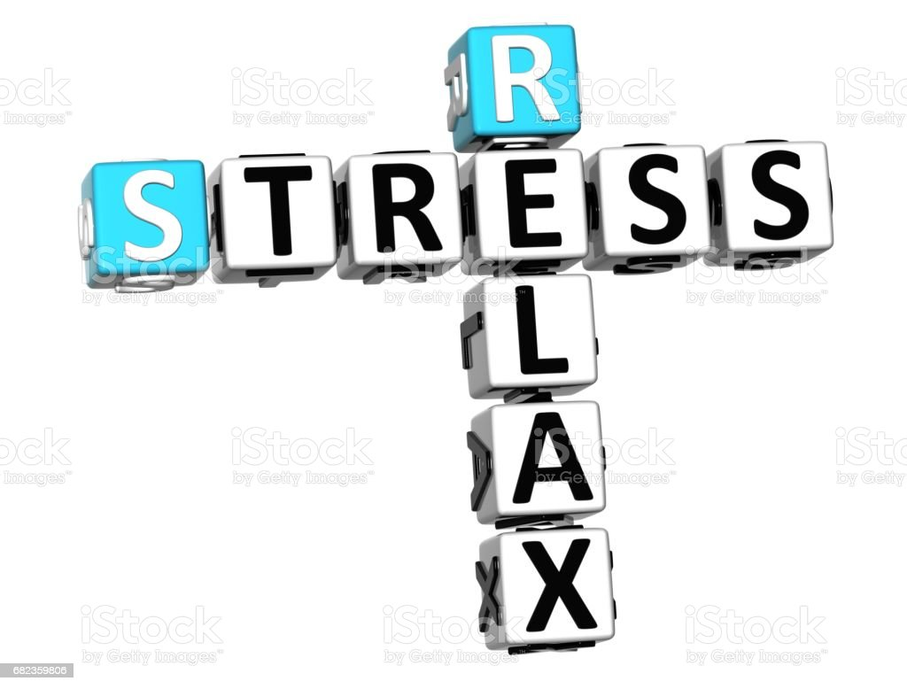3D Stress Relax Crossword cube words zbiór zdjęć royalty-free