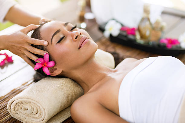stress removing - thai massage stock photos and pictures