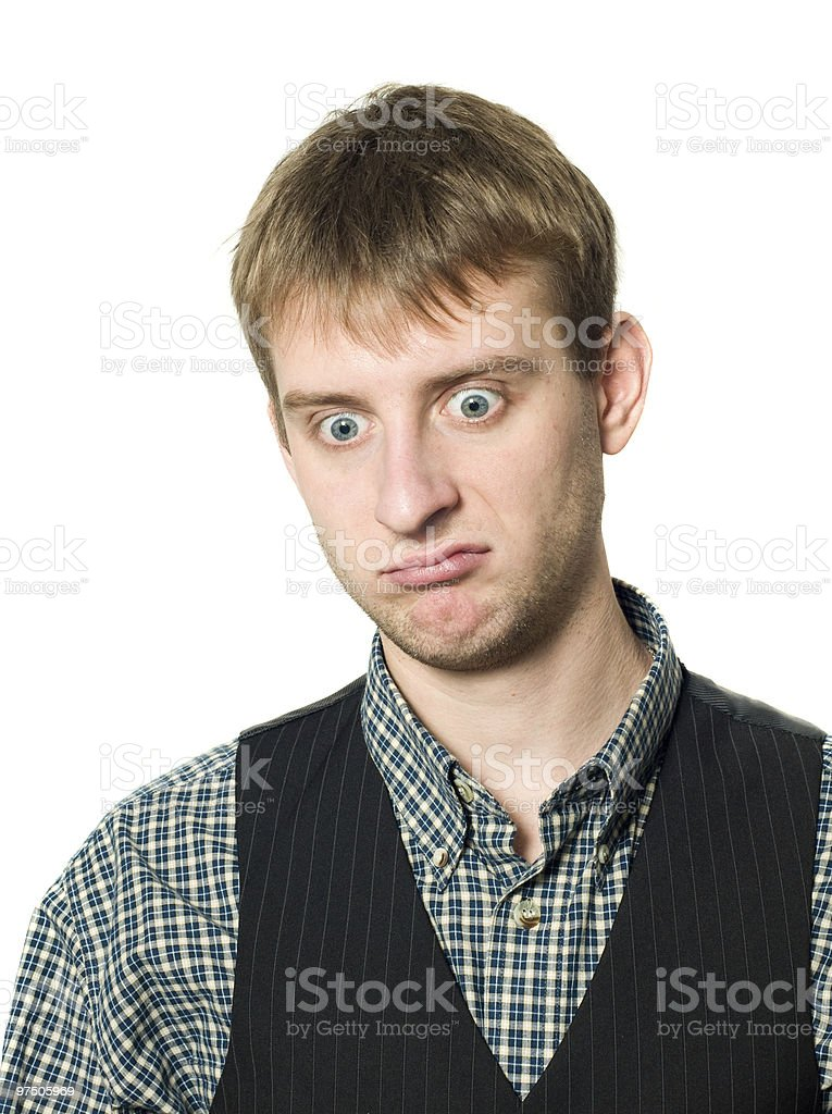 Stress - sad man isolated royalty-free stock photo