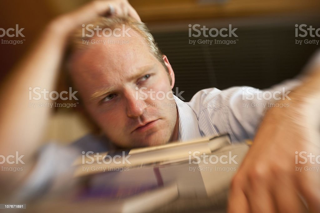 stress - Student with two much stuff learning royalty-free stock photo