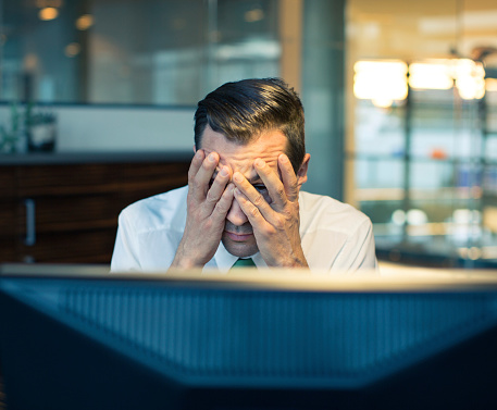 Stress While Working Late At Night Stock Photo - Download Image Now
