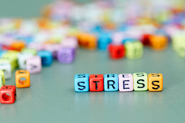 Stress word on dices stock photo