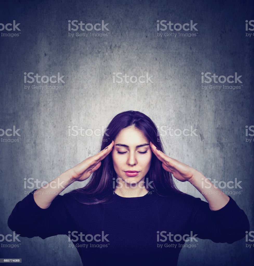 Stressed anxious woman with headache royalty-free stock photo