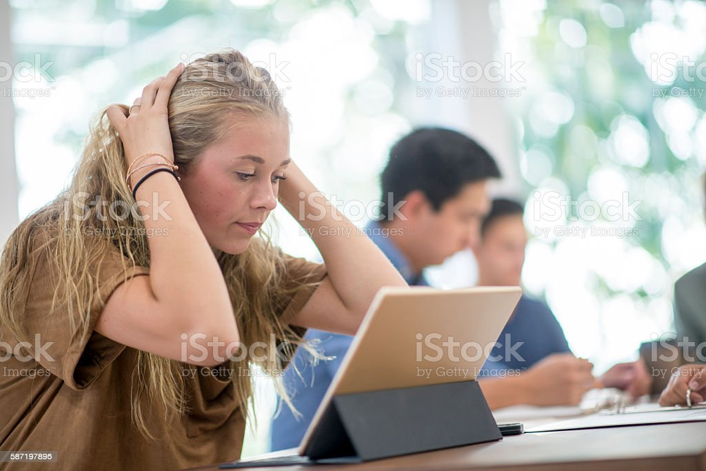 Stressed Before an Exam stock photo