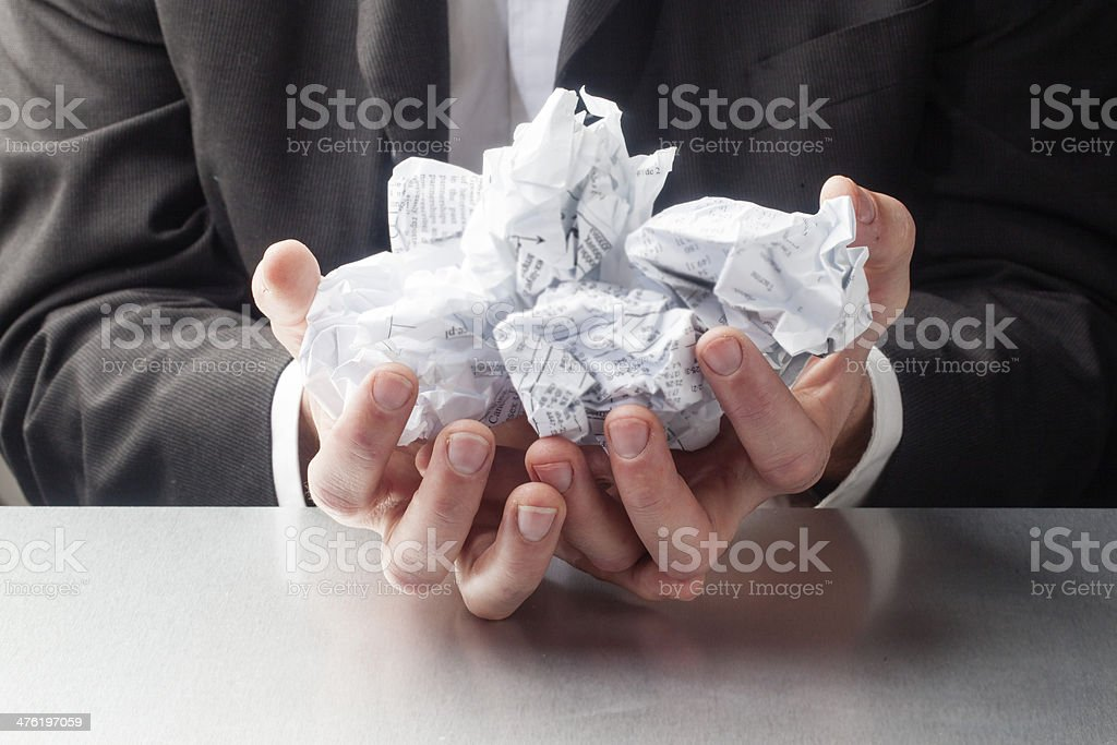 stressed business man with paperwork royalty-free stock photo