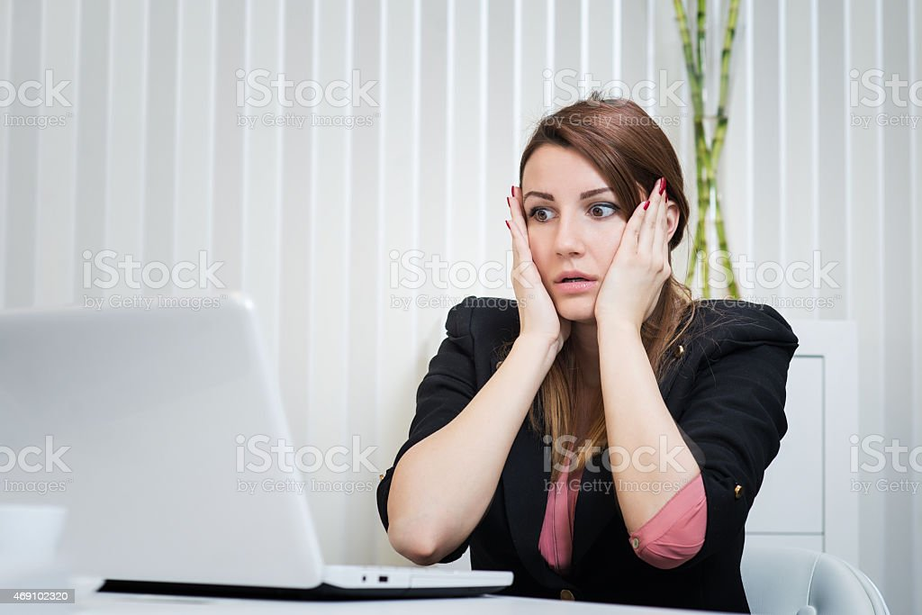 Stressed business woman. stock photo