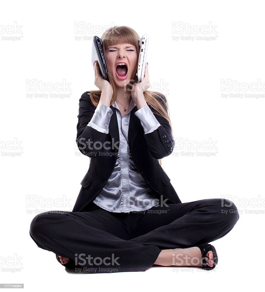 Stressed business woman with laptops royalty-free stock photo