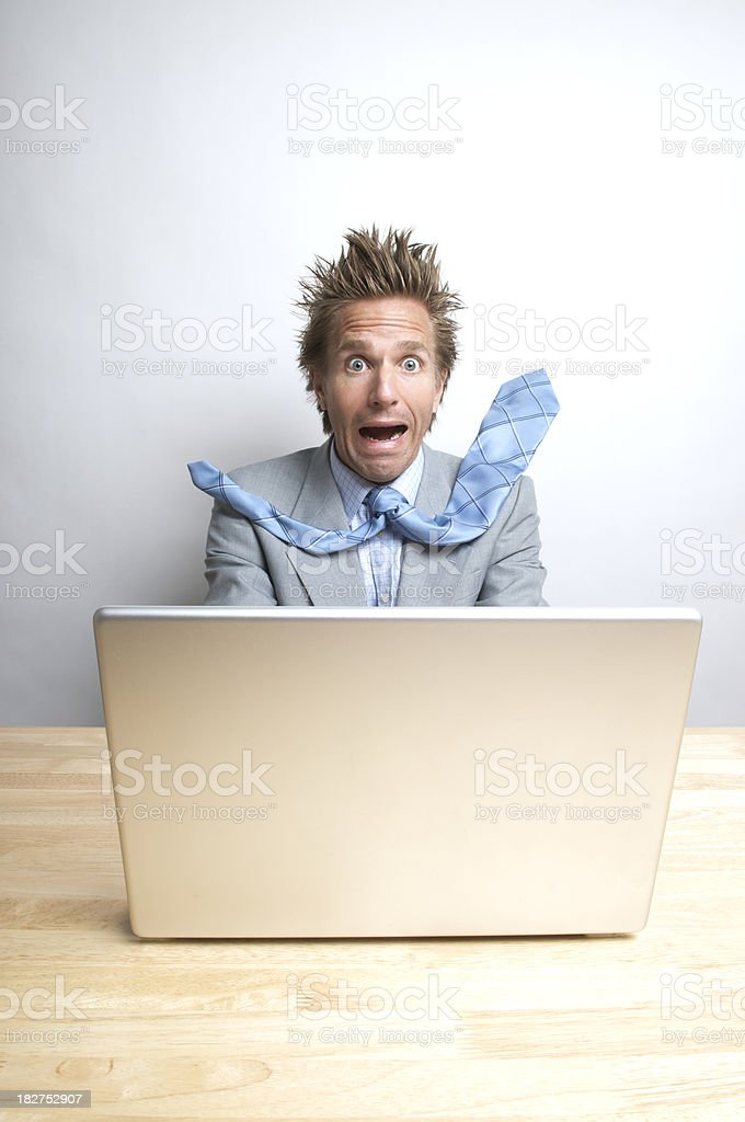 Stressed Businessman Office Worker Freaking Out at Laptop Computer stock photo