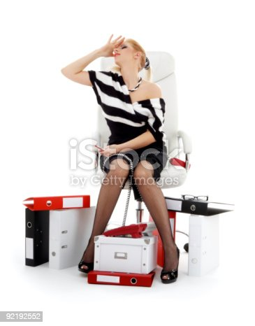 istock stressed businesswoman in chair over white 92192552
