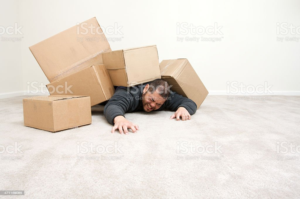 stressed by moving in royalty-free stock photo