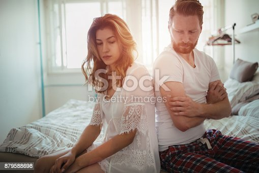 istock Stressed couple arguing and having marriage problems 879588698