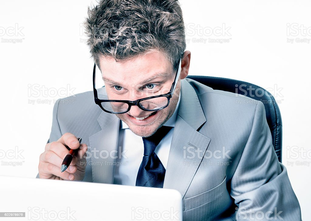 stressed crazy manager at work stock photo