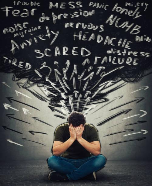 stress mann schwarzes durcheinander - psychisches problem stock-fotos und bilder