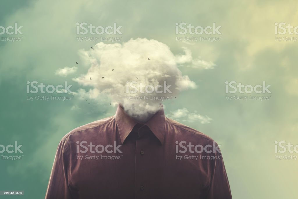 stressed man head in the cloud - foto stock