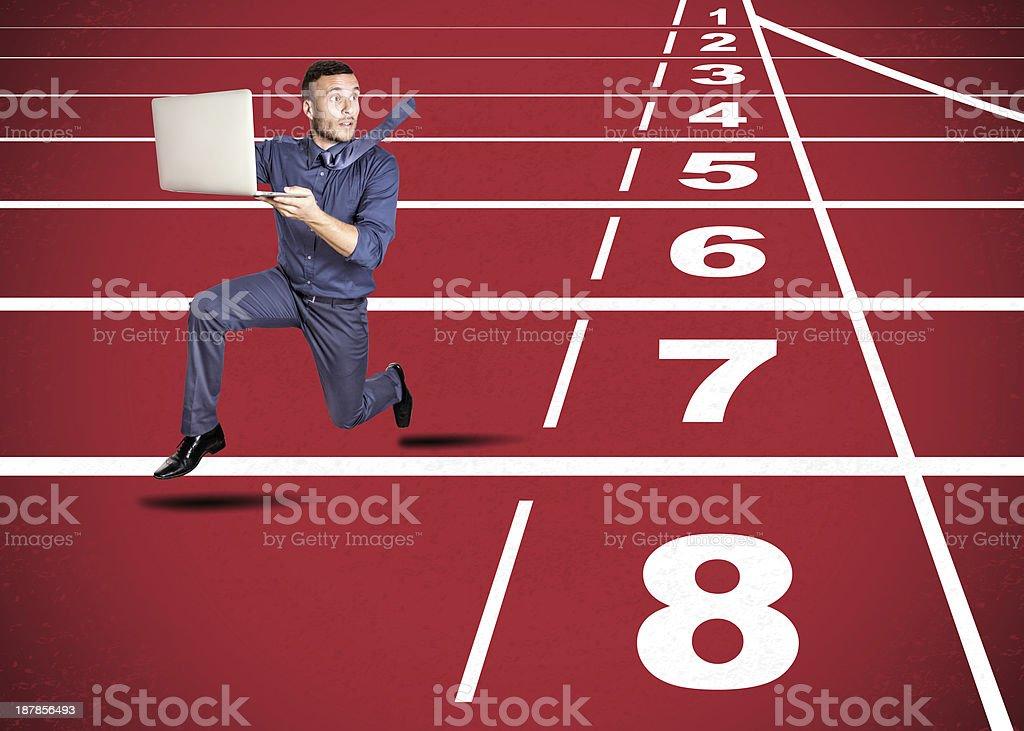stressed man on track stock photo