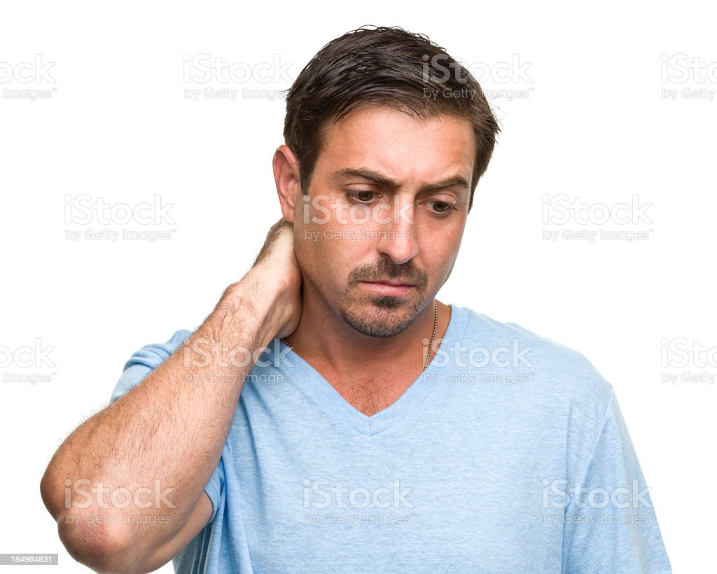 Stressed Man Rubs Neck stock photo