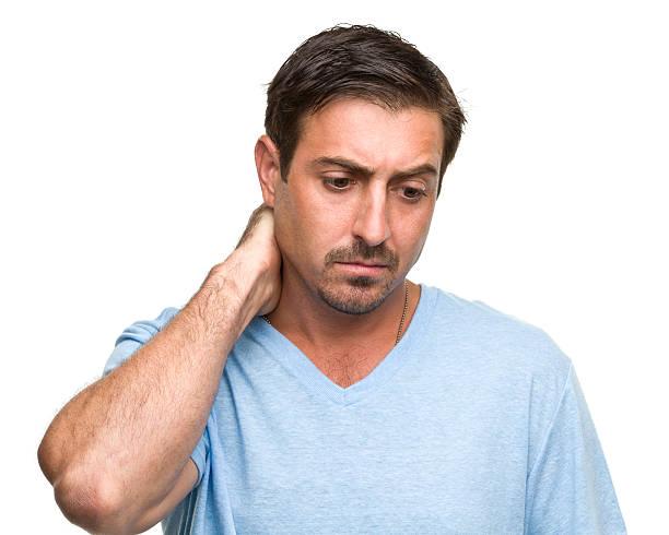 stressato uomo tua pelle sul collo - guardare verso il basso foto e immagini stock