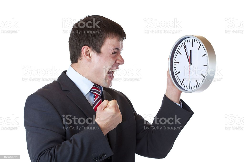 Stressed manager under time pressure clenches his fist and shout royalty-free stock photo