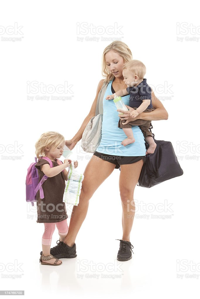 Stressed Mother with Children royalty-free stock photo