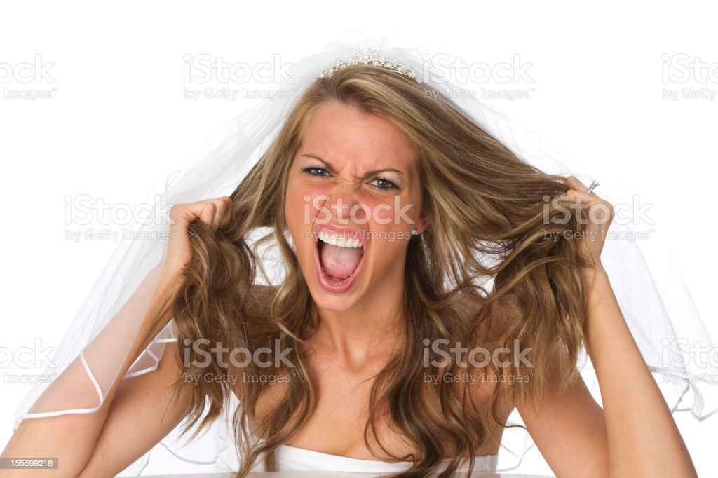 stressed out bride stock photo
