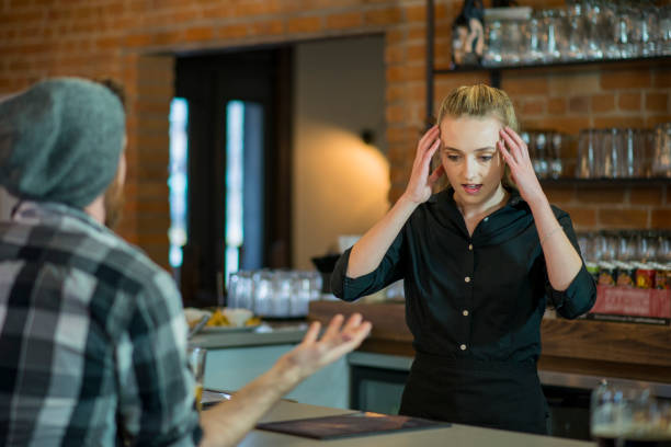 Stressed Out Waitress stock photo