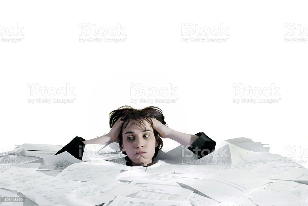 stressed, overworked business woman stock photo