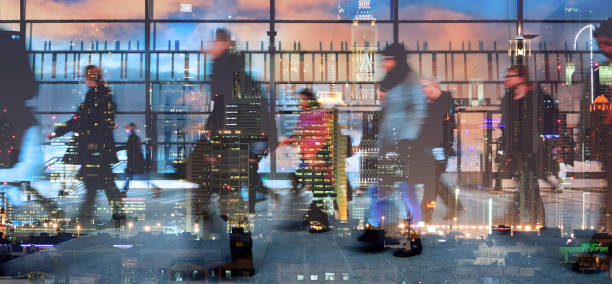 Stressed people leaving office, cityscape reflection - foto stock