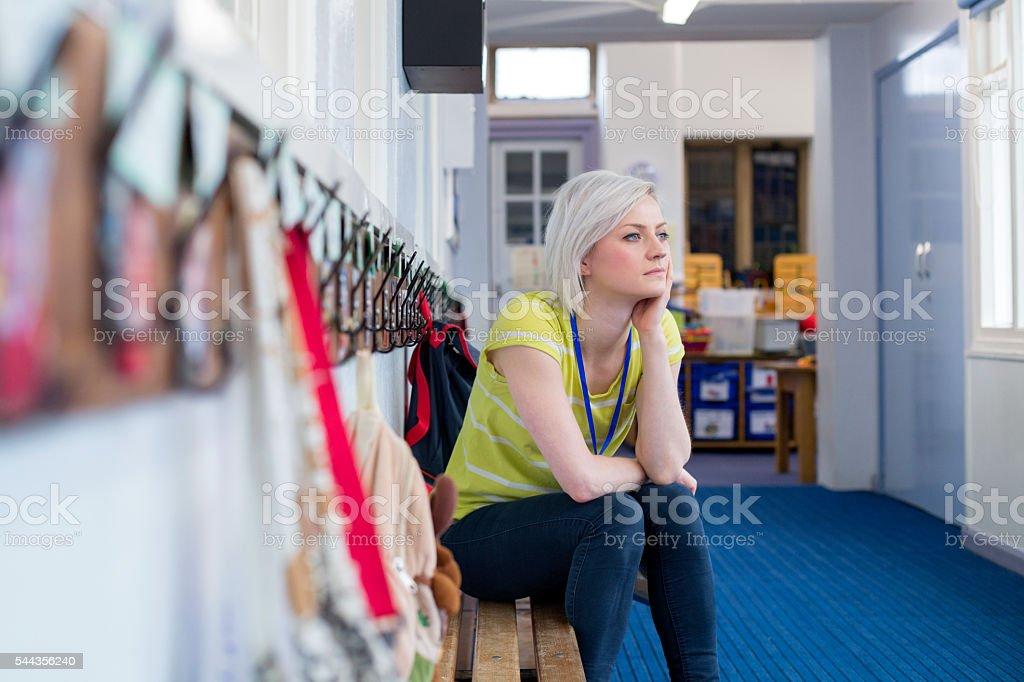Stressed School Teacher stock photo