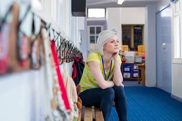 stressed school teacher - erzieherin stock-fotos und bilder