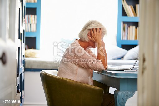 istock Stressed Senior Woman At Desk In Home Office With Laptop 475946618