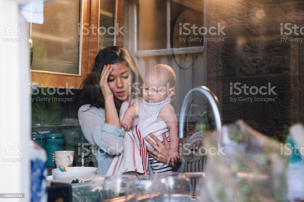 Stressed Single Mother stock photo