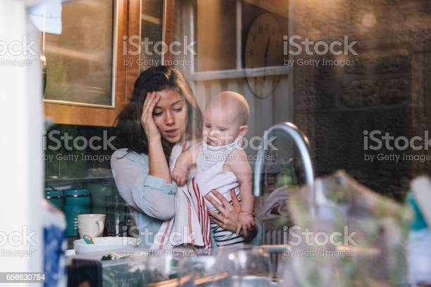 Stressed Single Mother Stock Photo - Download Image Now