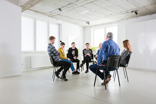 Stressed Students Sharing Problems During Meeting Stock Photo - Download Image Now