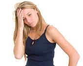 istock Stressed Unhappy Woman Rubs Head 185117042