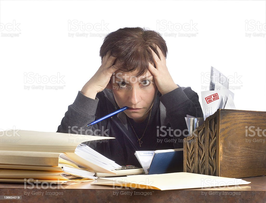 Stressed Woman and Household Finances royalty-free stock photo