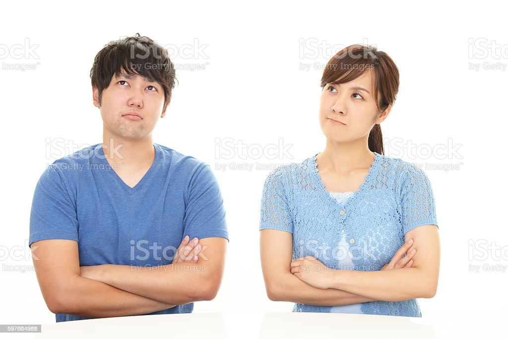 Stressed woman and man stock photo