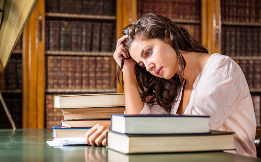 istock stressed woman during an exams on the classroom 508287636