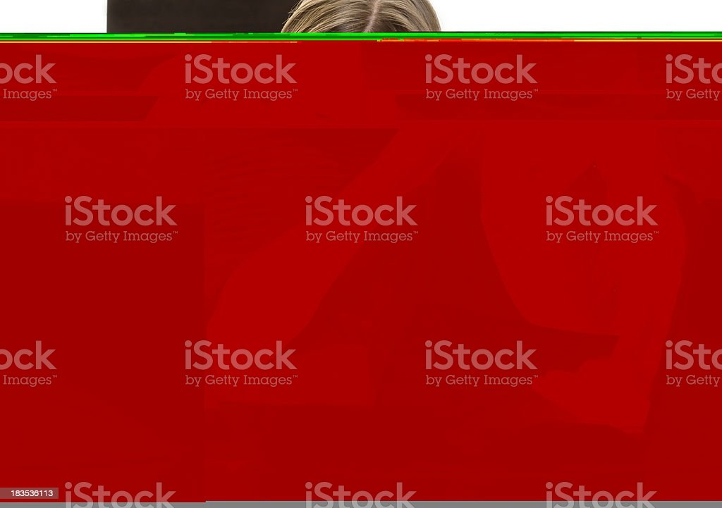 Stressed woman looking at bills. royalty-free stock photo
