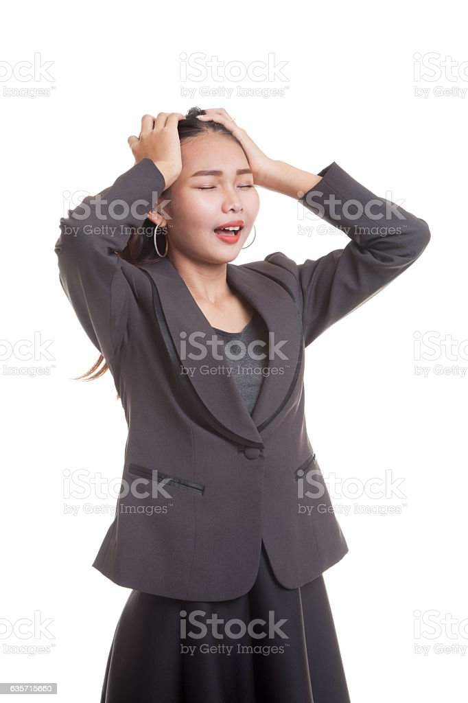 Stressed young Asian businesswoman scream out. royalty-free stock photo