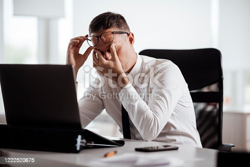 539437954 istock photo Stressed young businessman stock photo 1222520675